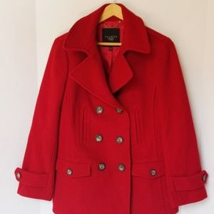Talbots red wool double breasted pea coat
